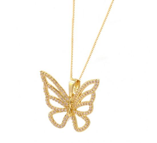 Colar borboleta vazada zirconia cristal. 161464