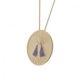 Colar medalha oval Nossa Senhora Aparecida com manto zirconia azul e detalhes. 161465
