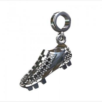 Berloque chuteira em prata com zirconia cristal. 361499