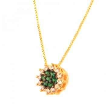 Colar flor zirconia verde esmeralda no centro e cristal em volta. 161580