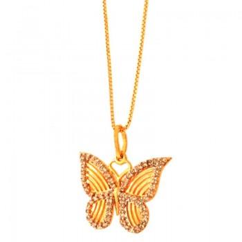 Colar borboleta pequena vazada com zirconia cristal em volta. 161622