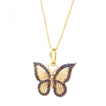 Colar borboleta pequena vazada com zirconia lilas em volta. 161623