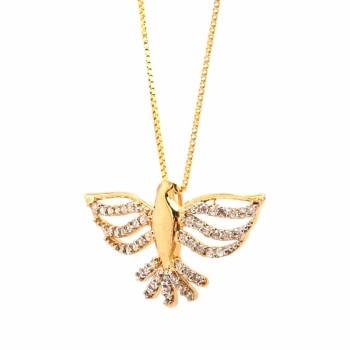 Colar divino com asas vazadas e rabo zirconia cristal. 161650