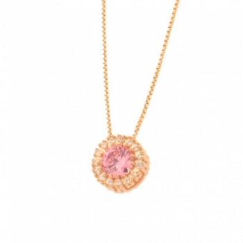 Colar chuveiro redondo pedra maior rosa claro com zirconia cristal em volta. 161656