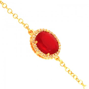 Pulseira com pedra oval vermelho rubi. 161664