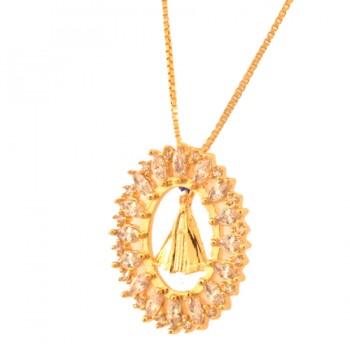 Colar Nossa Senhora Aparecida lisa com aro oval navete cristal. 161668