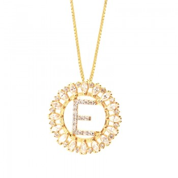 Colar letra E aro redondo com navete cristal e zirconia cristal. 161673E