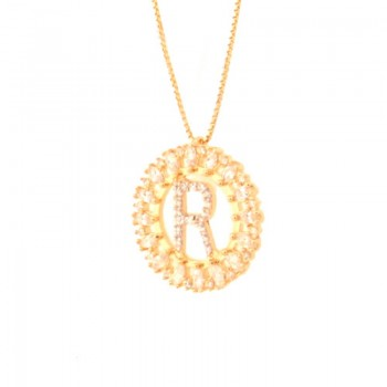 Colar letra R aro redondo com navete cristal e zirconia cristal. 161673R