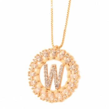 Colar letra W aro redondo com navete cristal e zirconia cristal. 161673W