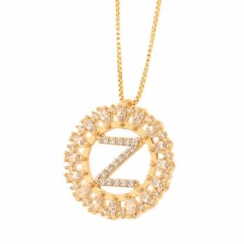 Colar letra Z aro redondo com navete cristal e zirconia cristal. 161673Z