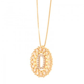 Colar letra D aro oval com navete cristal e zirconia cristal. 161678D