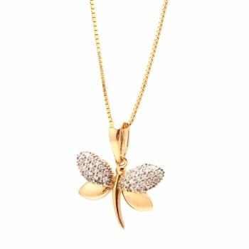 Colar libelula com asas zirconia cristal em cima e asas lisas embaixo. 161709