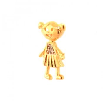 Pingente menina pequena com vestido zirconia cristal. 161712