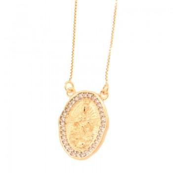 Colar medalha sagrado coracao zirconia cristal em volta. 161804