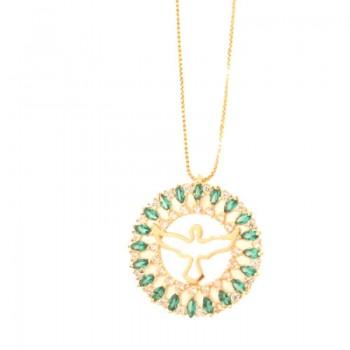 Colar divino com aro redondo navete verde paraiba e zirconia cristal. 161805