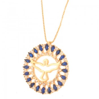 Colar divino com aro redondo navete azul safira e zirconia cristal. 161806