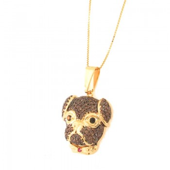 Colar cachorro rosto redondo zirconia chocolate com olhos zirconia negra. 161817