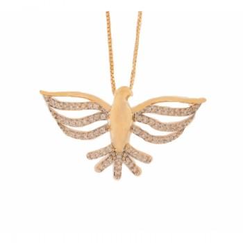 Colar divino medio com asas vazadas e rabo zirconia cristal. 161853