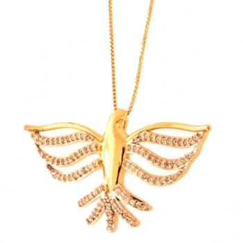 Colar divino maior com asas vazadas e rabo zirconia cristal. 161874