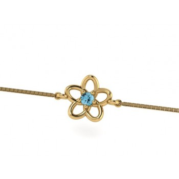 Pulseira infantil flor 5 petalas lisa com miolo zirconia azul claro. 161923