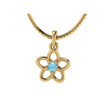 Colar infantil flor 5 petalas lisa com miolo zirconia azul claro. 161940
