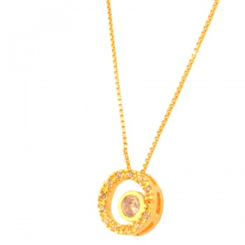 Colar circulo vazado zirconia cristal com zirconia maior cristal no centro. 161943