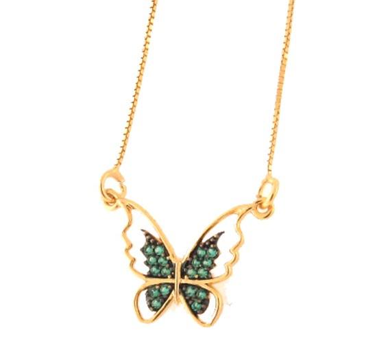 Colar borboleta vazada com zirconia verde paraiba nas asas. 161949