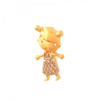 Pingente menina roupa zirconia cristal. 162005