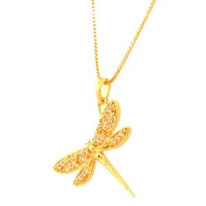 Colar libelula asas vazadas zirconia cristal. 162013
