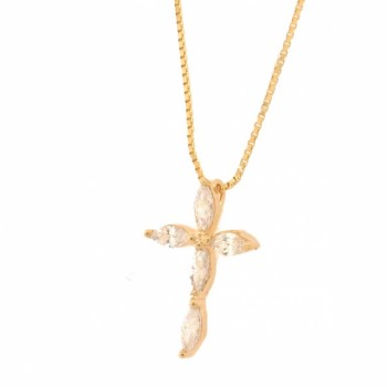 Colar cruz menor navete cristal. 161725
